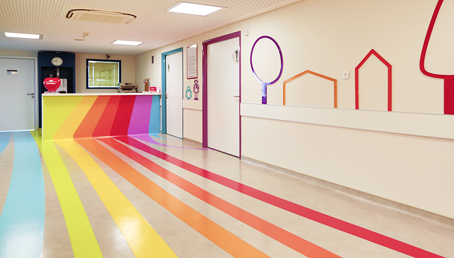 Colourful Hospital floor